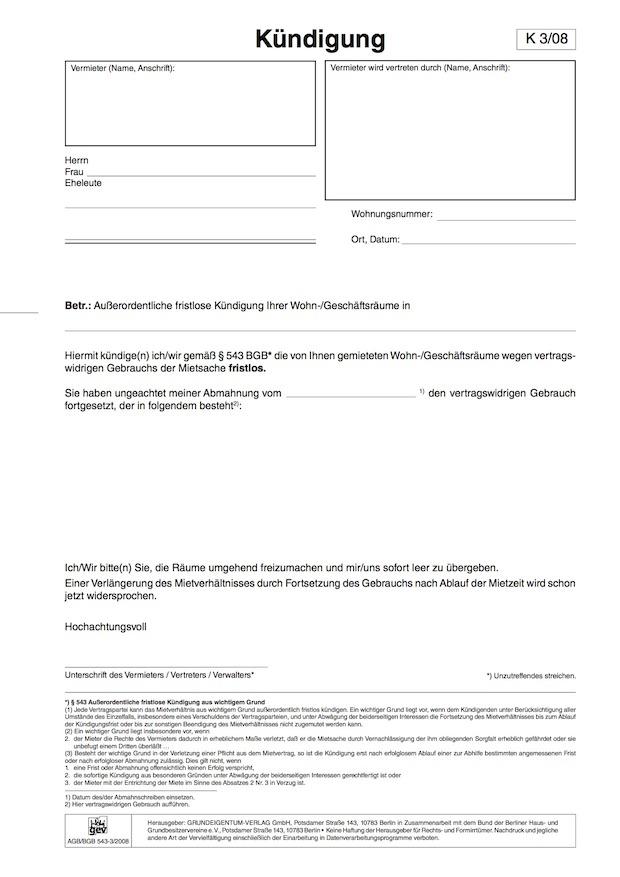 kndigung wegen vertragswidrigen gebrauchs kostenloses download formular - Mieterhohung Muster